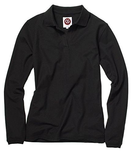 Damen langarm Poloshirt in Schwarz und Anthrazit von CG Workwear (2XL, Schwarz)