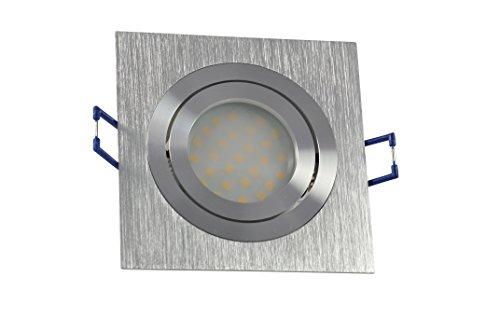 Einbaustrahler quadratisch | Aluminium gebürstet | schwenkbar | 230Volt GU10 8Watt LED warmweiss 2700Kelvin 550Lumen | Lampenfassung mit Anschusskabel inklusive