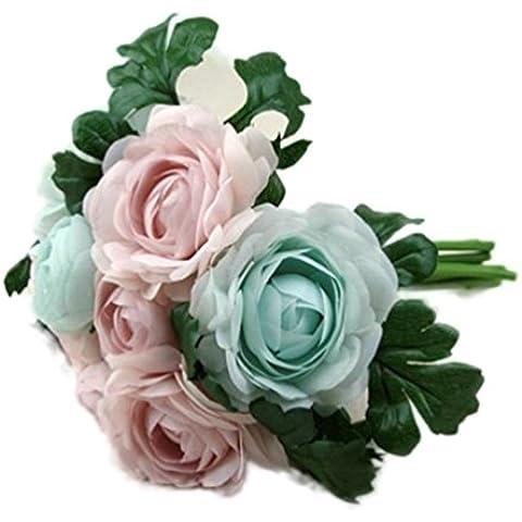 Fulltime® 8 teste di fiori rose di seta falso Fiore Foglia artificiale decorazioni di nozze a casa bouquet da sposa (Blu)