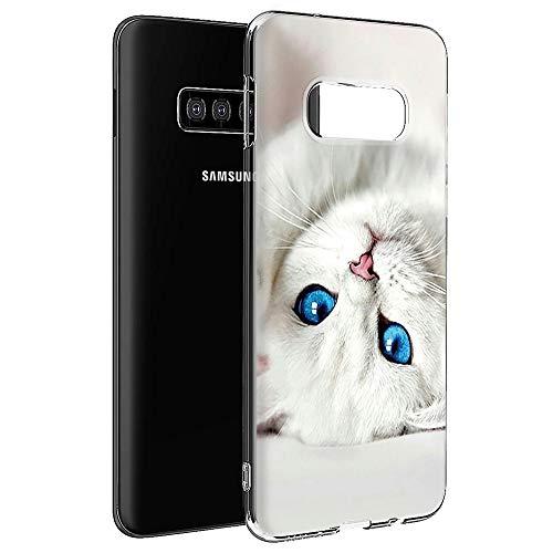 Pnakqil Coque Samsung Galaxy S7 Edge, Etui en Silicone 3D Transparente avec Motif Dessin Antichoc TPU Housse de Protection Case Cover Bumper Coque pour Téléphone Samsung S7 Edge,-Chat Blanc