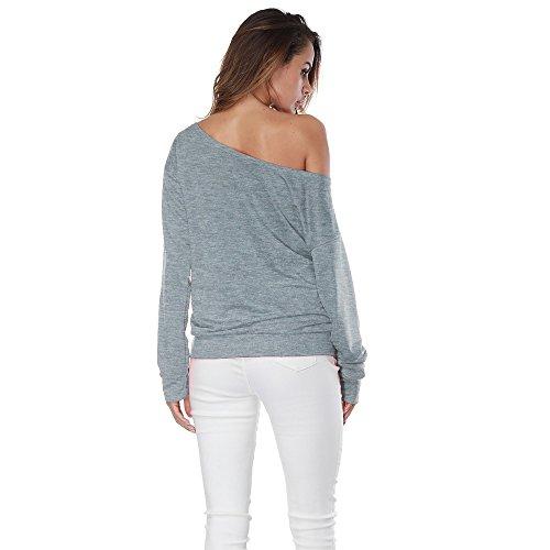 Maglietta Manica Lunga Donna Topgrowth Senza Spalline Stampa Camicia Casuale Camicetta Sciolto Top Moda Casual T-shirt Grigio