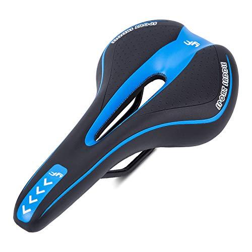 Asvert Sillín de Bicicleta Antiprostático Gel MTB Carretera Asiento Ciclismo Superior y Raíles de Acero de Carbono, Negro Azul