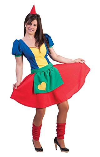 Karneval-Klamotten Zwergen Kostüm Damen Zwergen-Kleid Zwerg Kostüm Damen-Kostüm mit Zwergen-Mütze Garten-Zwerg Karneval Größe 36/38