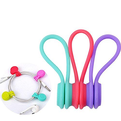 Alotm Kabel-Management, magnetische Kabelwickler für Kopfhörer/Datenkabel, Kopfhörerkabel, Kabel-Organizer für iPhone/iPad/Samsung, auch als Lesezeichen/Schlüsselanhänger verwendbar (zufällige Farbe)