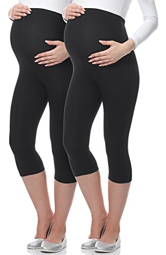 Be Mammy 3/4 Umstandsleggings BE-03 2er Pack (Schwarz/Schwarz, XXL)