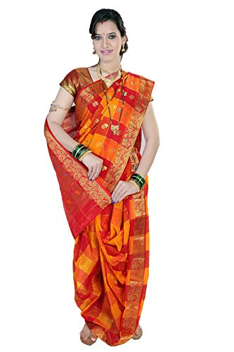 Bhartiya Vastra Bhandar Women's Ready to Wear Nauvari Saree(DNo11_Cottoncheqs_Multi-Coloured_FreeSize)