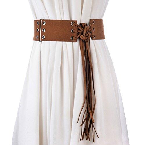 Zhuhaitf Mode Damengürtel - Vintage Designer Tassel Wide Waistband Western Belts for Women Easy to Match Jeans Dress Skirts (Designer-gürtel Womens)