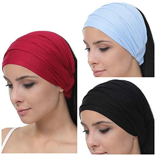Deresina Elastisches dehnbares Stirnband, Haarband für Haarausfall (Black - Burgundy - Sky Blue)