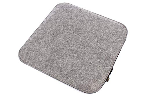 6er Set Filz Sitzkissen in graumeliert und dunkelgrau zum Wenden, waschbare Stuhlauflage mit Füllung inkl. Reissverschluss. Moderne Sitzauflage für Bank und Stuhl mit runden Ecken, weich gepolstert. Designer Sitzpolster / Filzauflage, quadratisch ca. 35x35cm groß