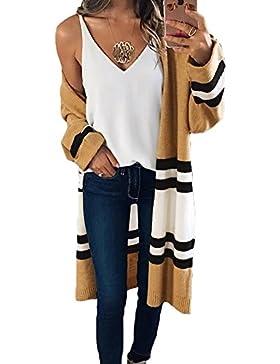 hibote Mujeres chaqueta de punto rayas camisa de manga larga Moda de punto Chaqueta Casual cubrir Outwear