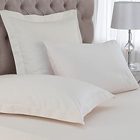 Great Knot Easycare Percale 180 Thread Count Oxford Pillowcases, Ivory
