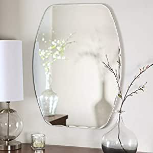 Quality Glass Frameless Decorative Mirror | Mirror Glass for Wall | Mirror for bathrooms | Mirror in Home | Mirror Decor | Mirror Size : 18 inch x 24 (QG-FL-001)