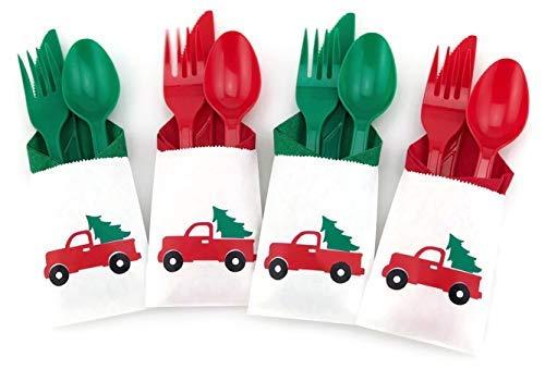 Besteck für Weihnachten, Party, Vintage-Design, Rot, 24-teiliges Set