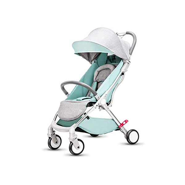 WFCVS Pushchairs Pram Sit Lie Light Folding 0-3 Year Old One Key Car Portable Shockproof Trolley,Green WFCVS Pusher type: baby carriage Applicable age: 1 months ~4 years Frame material: aluminum alloy / tube wall thickness: 1.5mm Basket fabric: Oxford cloth / bearing: 15kg Baby wheel type: EVA foam / wheel material: PU/ bearing number: 10 axis. 1