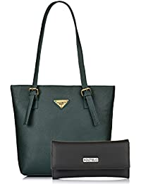 Fostelo Women's Combo Handbag & Clutch (Green & Black) (FSB-1103-FC-29)