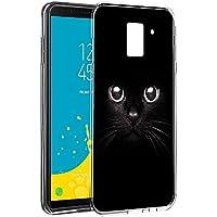 Funda Samsung Galaxy J6 2018, Eouine Cárcasa Silicona 3d Transparente con Dibujos Diseño Suave Gel TPU [Antigolpes] de Protector Bumper Case Cover Fundas para Movil Samsung Galaxy J6 2018 - 5,6 Pulgadas (Gato negro)