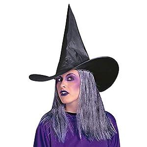 WIDMANN Bruja con pelo gris Halloween bruja sombreros gorras y Headwear para disfraces accesorio