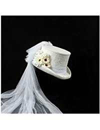 70d15782f5a Yuying 4 Size Victorian Gothic Steampunk Wedding Top Hat Winter White  Wedding Top Hat Ivory Rockabilly Georgian…