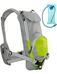 ivim paquetes de hidratación con agua 2L vejiga Mochila para Hombres y Mujeres para Senderismo, Running, Ciclismo, ciclismo y Camping, color lima - verde lima, tamaño Backpack and Bladder