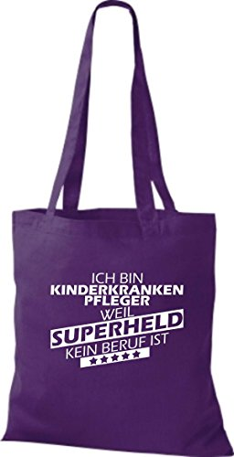Shirtstown Stoffbeutel Ich bin Kinderkrankenpfleger, weil Superheld kein Beruf ist lila