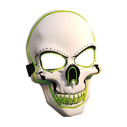 TENDYCOCO Halloween Scary Maske LED leuchten Kostüm Maske leuchtende Cosplay Maske für Festival Party (ohne Batterien) (Halloween-kostüme Scary Ohne Masken)