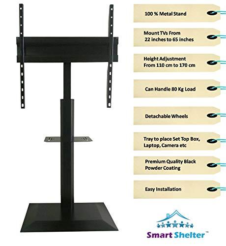Smart Shelter Metal LCD/LED/Plasma TV Height Adjustable Floor Stand/Pedestal TV Mount Trolley Stand (100% Made of Metal)