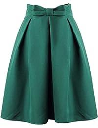 uideazone Fashion para mujer verano Midi faldas plisada alta cintura hasta la rodilla Falda