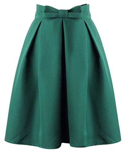 Uideazone donne ragazze causale gonna al ginocchio lunghezza pieghe gonna longuette green dress l
