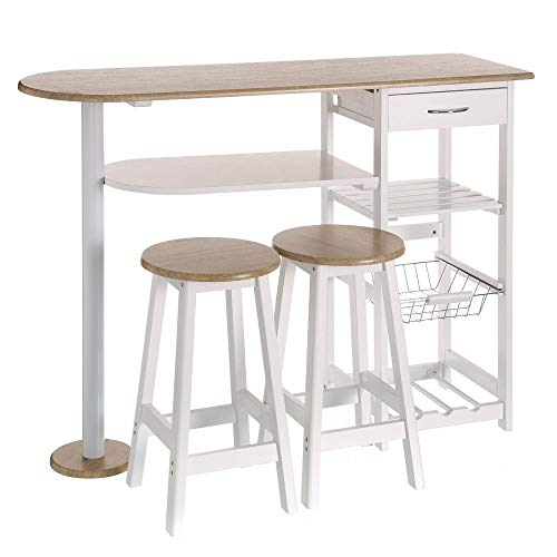 Mesa Cocina Bar Moderna Madera Blanca Basic - LOLAhome