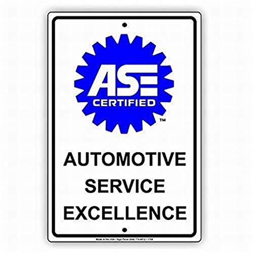 SUPVIVI Sicherheitsschild 12 x 16 Gefahrenschild ASE Zertifiziert Automotive Service Excellence mit Grafik Auto Repair Mechanic Alert Wandkunst Warning Caution Blech Schilder Metall -