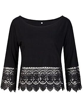 Beauty7 Encaje Floral Elegante Camisetas Mujer Mangas Larga Lace Hueco Hollow Tops T Shirt Parte Superior Blusa...