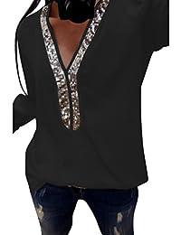 EUR 2,98 · ❤ Camiseta Lentejuelas Sexy Mujer,Tops con Cuello en V de Manga Larga Casual