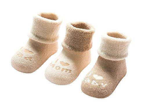 DEBAIJIA Bio-Baumwolle Babysocken für 6-12 Monate Jungen Mädchen Neugeborene Kleinkind Dicke Warm Socken Set 3er Pack Mom/Dad - S