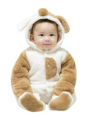 Unisex Baby Plüsch mit Kapuze Baumwolle Strampler 3D Tier Winter Overall All in One Schneeanzug Cartoon Onesie Verdicken Outfits Anzug