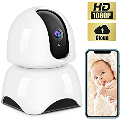 IP Camera Wireless 1080P,WiFi Baby Monitor Indoor Camera with Night Vision Motion Detection Two-Way Audio Home Security Surveillance for Baby/Elder/Pet Monitor Cloud Service Available