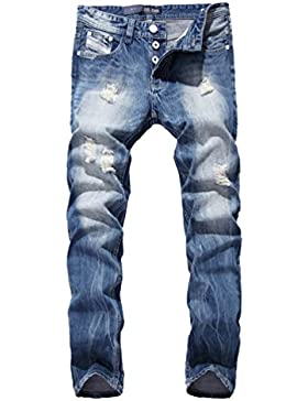 YiLianDa Uomo Jeans Distressed Biker Denim Pantaloni Strappati Jeans