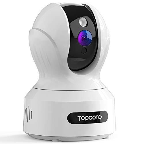 Topcony Camara Vigilancia WiFi, 1080P Cámara IP Vigilabebés/Mascotas con visión Nocturna detección de Movimiento intercomunicación