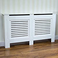Home Discount Milton Radiator Cover White Modern Painted MDF Cabinet, Medium