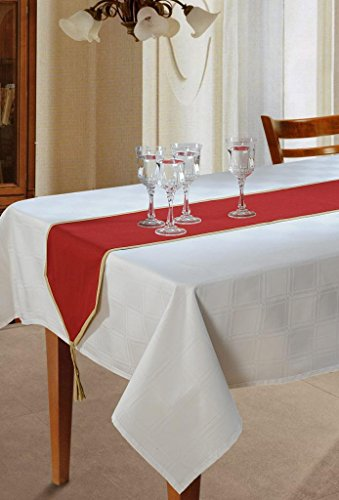 Swayam Libra Solid Cotton Small Table Runner - Maroon (RNR45-Maroon)