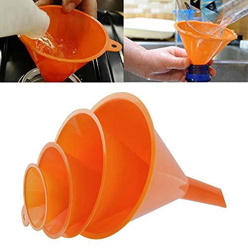 periwinkLuQ 4 Packungen Kunststofftrichter zum Ausgießen von Kraftstoff, Benzinbehälter, Küche und Auto, zum Auffüllen von Flüssigkeiten, Flüssigkeiten, Öl, Pulver, Marmelade multi