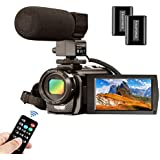 Video Camera Camcorder MELCAM 1080P 30FPS 24MP 3.0 Inch Screen Digital Camera with Microphone and Remote Control and 2 Rechargeable Batteries Webcam Recorder
