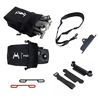 Anbee Mavic Accessories Combo, Drone Body and Remote Contoller Storage Bag + Neck Strap + Lanyard Buckle + Propeller Clip + Thumb Stick Guard for DJI Mavic Pro Drone