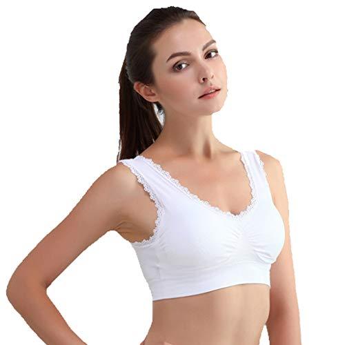 Yoga Dessous Top Damenunterwäsche BHS Doppelschicht mit Spitze Sport BH Spitze ohne Rand Yoga Weste Bewegung Sporttop Bequem, Starker Halt Sport BHS -
