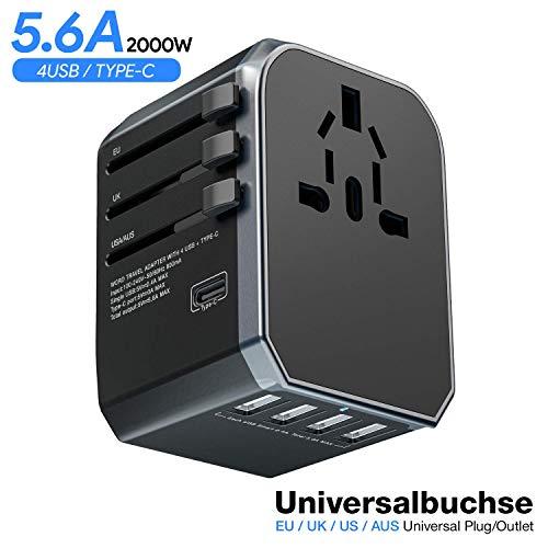 MUSCCCM Reiseadapter Universal Reisestecker Travel Adapter mit 4 USB Ports, Typ-C und 1 AC Buchse Weltweit USB Reise Stecker für Europa UK Australien USA China 150+ Ländern