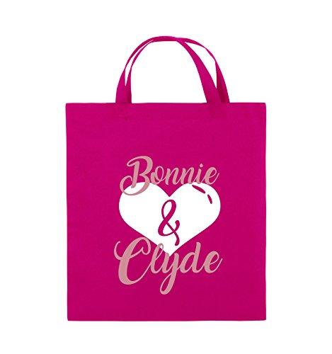 Commedie - Bonnie & Clyde - Motivo Cuore - Borsa Di Juta - Manico Corto - 38x42cm - Colore: Nero / Bianco-neon Verde Rosa / Rosa-bianco