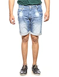 Mufti Mens Mid Blue Slim Fit Mid Rise Shorts - B06VVLS4VK