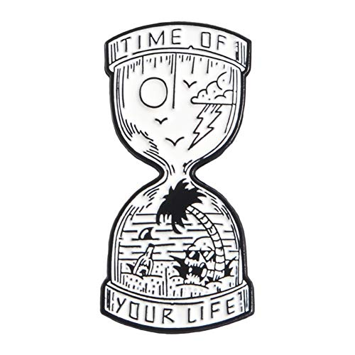 HYLIWI Brosche Time Hourglass Skull Fish Tank Ghost Dead Couples Coffin Cat Skeleton Pins Brooches for Women Men Enamel Pin Metal Badge (Ghost Lady Kostüm)