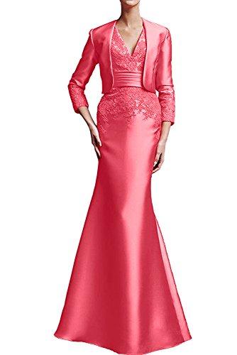 TOSKANA BRAUT Royalblau Damen Spitze Satin Meerjungfrau Neu 2017 Brautmutterkleider Abendkleider Lang mit Jacke Wassermelone