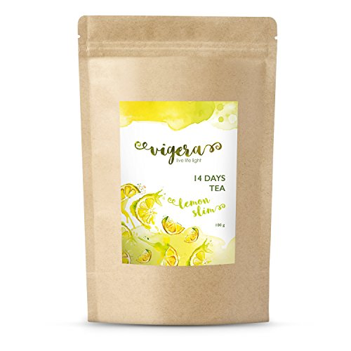 Detox Tee Von Vigera - Lemon Slim - Empfohlen Zu Deiner 14 Tage Detox Kur - Made in Deutschland - 100g Natürliche, Erfrischende Teemischung In Aromaschutzbeutel