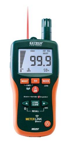 Extech Feuchtigkeits-Psychrometer ohne Mess-Stift mit IR-Thermometer und Bluetooth MeterLink, 1 Stück, MO297 -